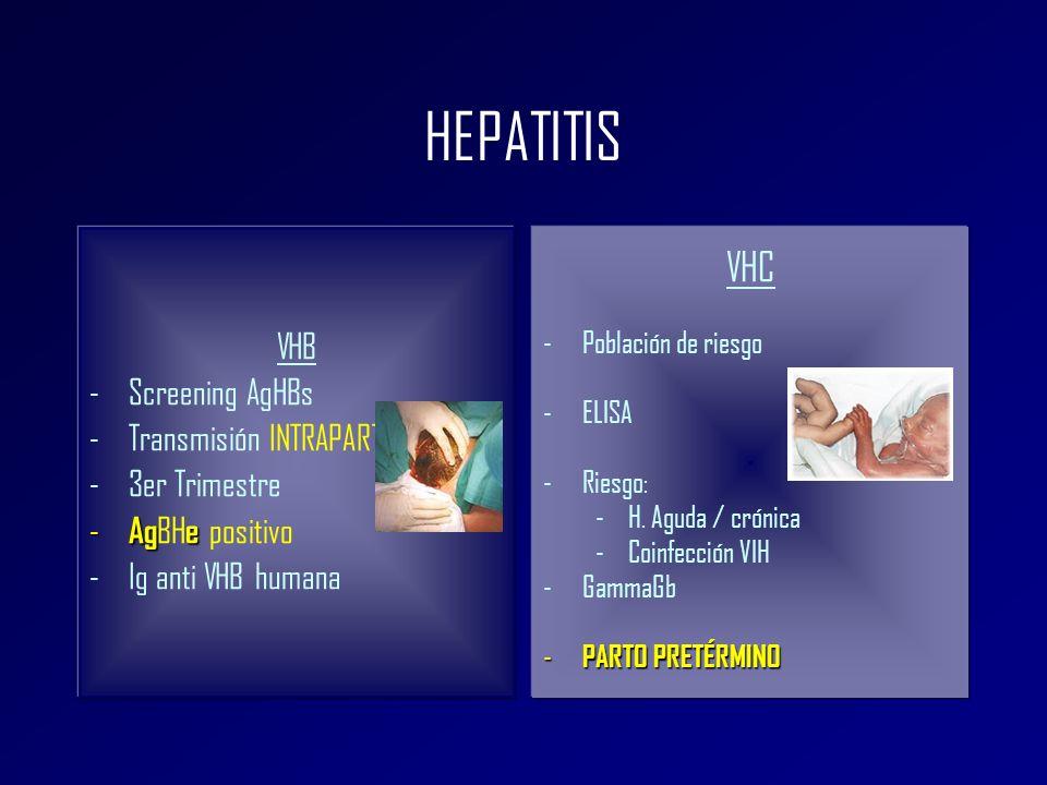 HEPATITIS VHB -Screening AgHBs -Transmisión INTRAPARTO -3er Trimestre - Age - Ag BH e positivo -Ig anti VHB humana VHC -Población de riesgo -ELISA -Ri