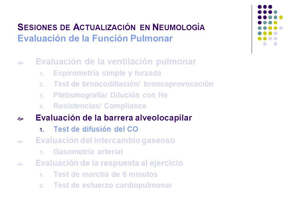 Evaluación de la ventilación pulmonar 1. Espirometría simple y forzada 2. Test de broncodiltación/ broncoprovocación 3. Pletismografía/ Dilución con H