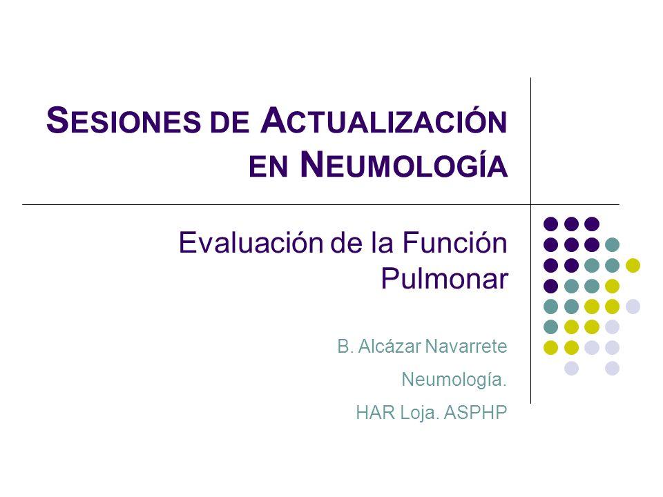 S ESIONES DE A CTUALIZACIÓN EN N EUMOLOGÍA Evaluación de la Función Pulmonar B. Alcázar Navarrete Neumología. HAR Loja. ASPHP
