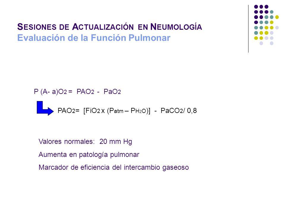 S ESIONES DE A CTUALIZACIÓN EN N EUMOLOGÍA Evaluación de la Función Pulmonar P (A- a)O 2 = PAO 2 - PaO 2 PAO 2 = [FiO 2 x (P atm – P H 2 O )] - PaCO 2