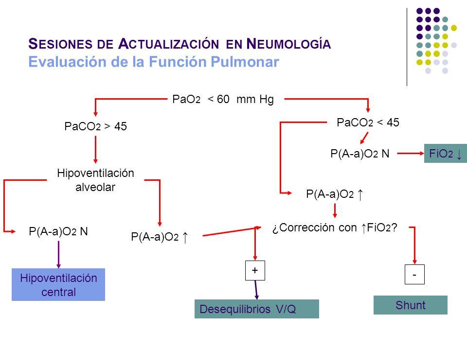 S ESIONES DE A CTUALIZACIÓN EN N EUMOLOGÍA Evaluación de la Función Pulmonar PaO 2 < 60 mm Hg PaCO 2 > 45 Hipoventilación alveolar P(A-a)O 2 N Hipoven