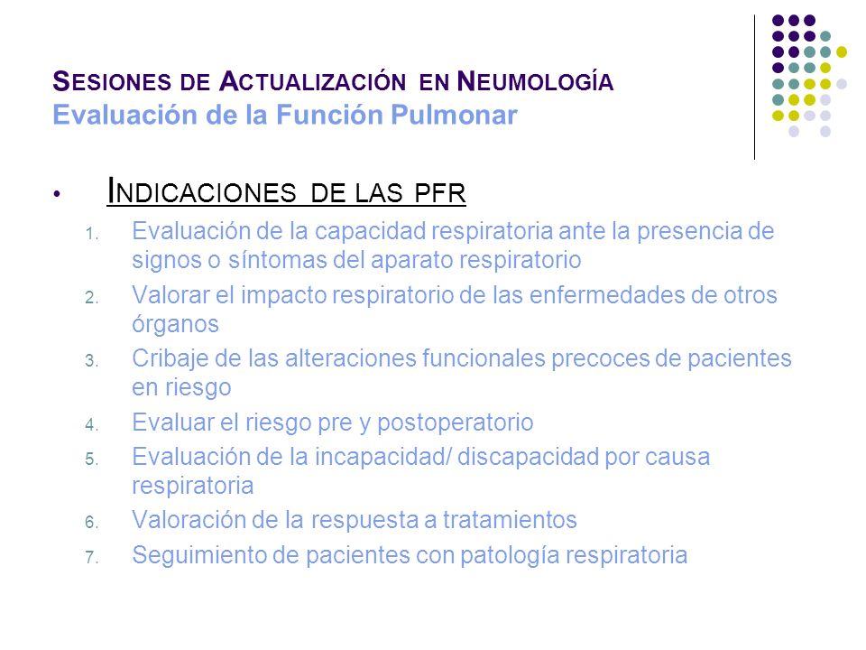 S ESIONES DE A CTUALIZACIÓN EN N EUMOLOGÍA Evaluación de la Función Pulmonar P (A- a)O 2 = PAO 2 - PaO 2 PAO 2 = [FiO 2 x (P atm – P H 2 O )] - PaCO 2 / 0,8 Valores normales: 20 mm Hg Aumenta en patología pulmonar Marcador de eficiencia del intercambio gaseoso