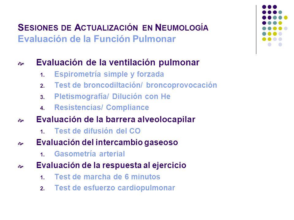 S ESIONES DE A CTUALIZACIÓN EN N EUMOLOGÍA Evaluación de la Función Pulmonar PaO 2 < 60 mm Hg PaCO 2 > 45 Hipoventilación alveolar P(A-a)O 2 N Hipoventilación central P(A-a)O 2 PaCO 2 < 45 P(A-a)O 2 NFiO 2 P(A-a)O 2 ¿Corrección con FiO 2 .