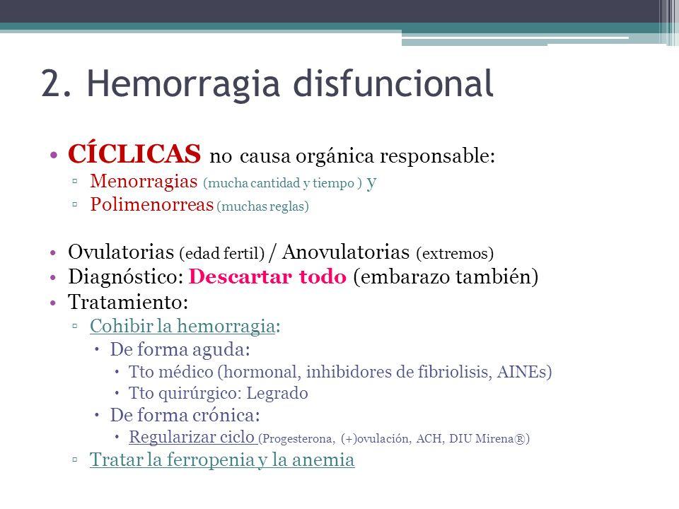 2. Hemorragia disfuncional CÍCLICAS no causa orgánica responsable: Menorragias (mucha cantidad y tiempo ) y Polimenorreas (muchas reglas) Ovulatorias
