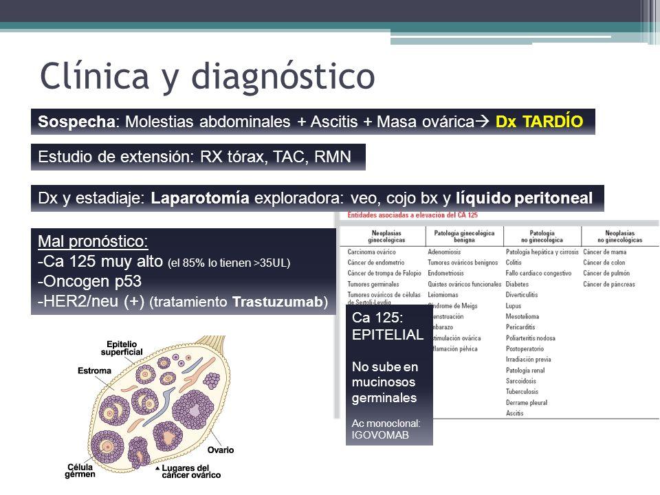 Clínica y diagnóstico Sospecha: Molestias abdominales + Ascitis + Masa ovárica Dx TARDÍO Dx y estadiaje: Laparotomía exploradora: veo, cojo bx y líqui