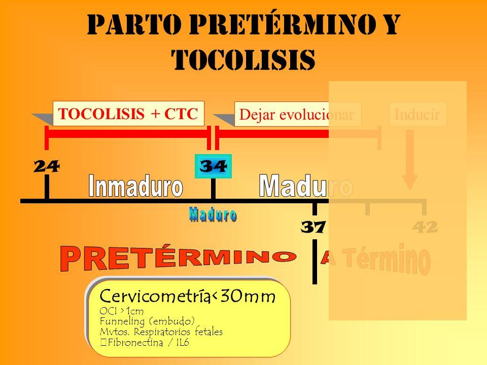Parto pretérmino y tocolisis 24 TOCOLISIS + CTC Dejar evolucionar 4237 Inducir 34 Cervicometría< 30mm OCI > 1cm Funneling (embudo) Mvtos. Respiratorio