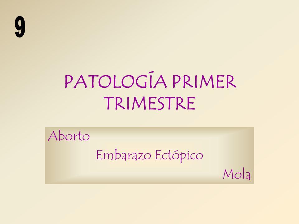 PATOLOGÍA PRIMER TRIMESTRE Aborto Embarazo Ectópico Mola