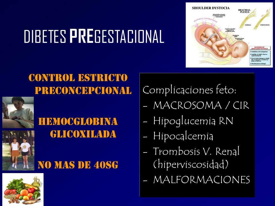 DIBETES PRE GESTACIONAL coNTROL estricto PRECONCEPCIONAL Hemocglobina glicoxilada No mas de 40sg Complicaciones feto: -MACROSOMA / CIR -Hipoglucemia R
