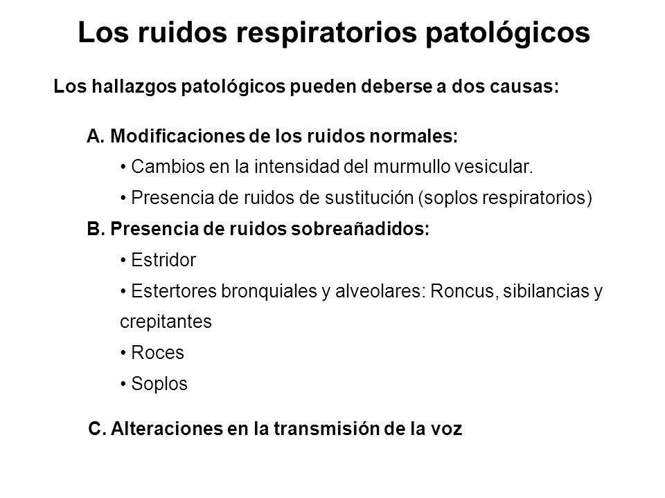 Los ruidos respiratorios patológicos Los hallazgos patológicos pueden deberse a dos causas: A. Modificaciones de los ruidos normales: Cambios en la in