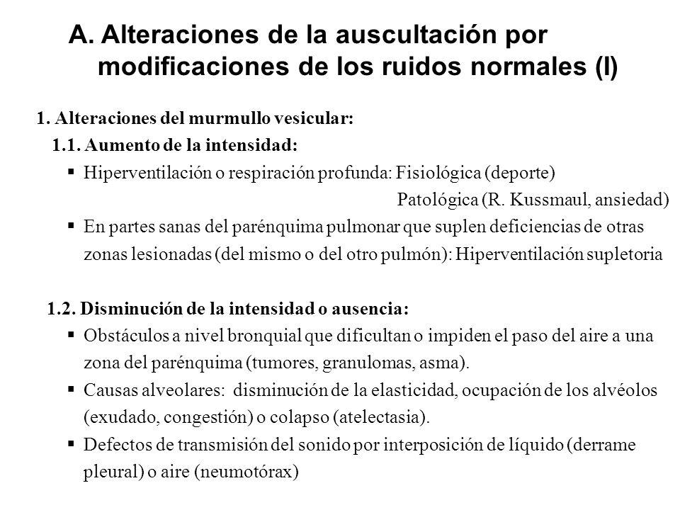 1. Alteraciones del murmullo vesicular: 1.1. Aumento de la intensidad: Hiperventilación o respiración profunda: Fisiológica (deporte) Patológica (R. K