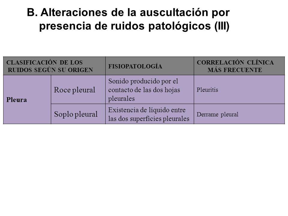 B. Alteraciones de la auscultación por presencia de ruidos patológicos (III) CLASIFICACIÓN DE LOS RUIDOS SEGÚN SU ORIGEN FISIOPATOLOGÍA CORRELACIÓN CL