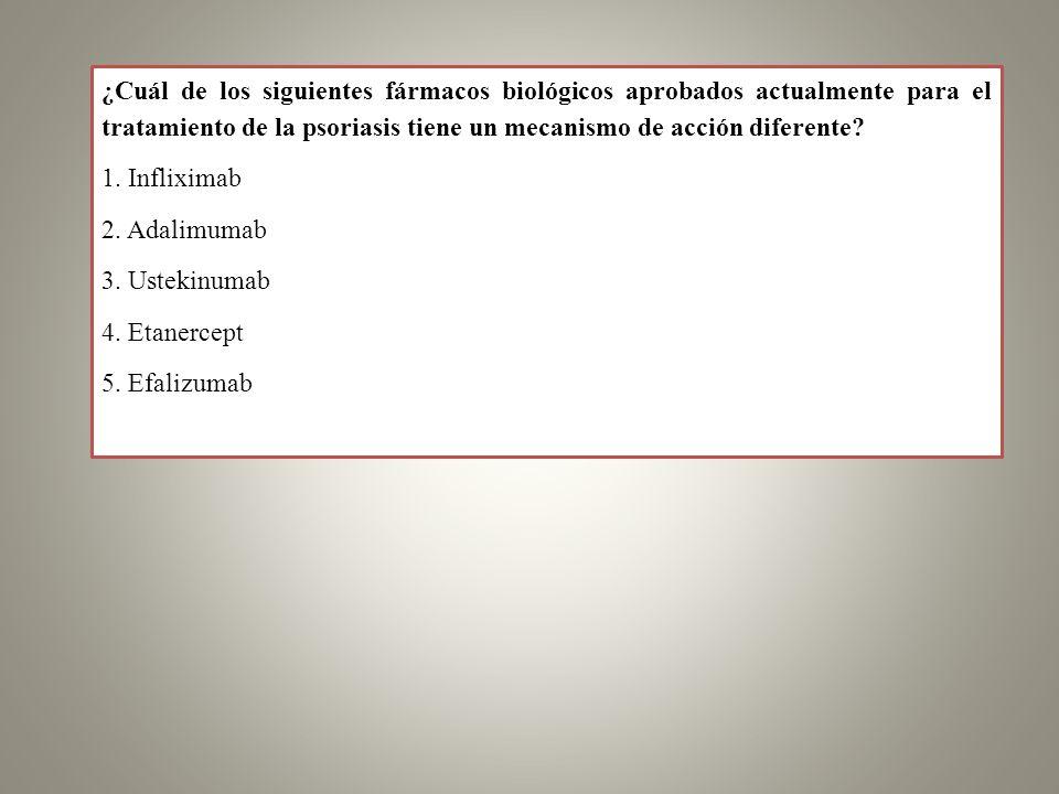 ¿Cuál de los siguientes fármacos biológicos aprobados actualmente para el tratamiento de la psoriasis tiene un mecanismo de acción diferente? 1. Infli