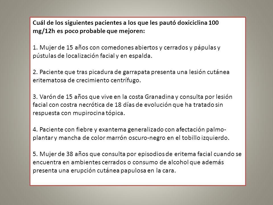 Cuál de los siguientes pacientes a los que les pautó doxiciclina 100 mg/12h es poco probable que mejoren: 1. Mujer de 15 años con comedones abiertos y
