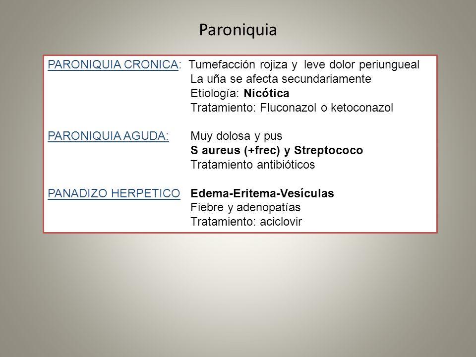 Paroniquia PARONIQUIA CRONICA: Tumefacción rojiza y leve dolor periungueal La uña se afecta secundariamente Etiología: Nicótica Tratamiento: Fluconazo
