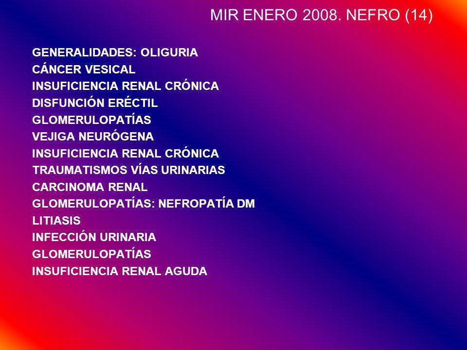 MIR ENERO 2008. NEFRO (14) GENERALIDADES: OLIGURIA CÁNCER VESICAL INSUFICIENCIA RENAL CRÓNICA DISFUNCIÓN ERÉCTIL GLOMERULOPATÍAS VEJIGA NEURÓGENA INSU