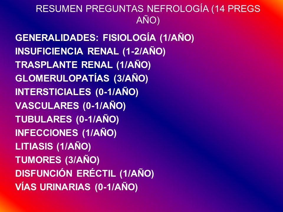 RESUMEN PREGUNTAS NEFROLOGÍA (14 PREGS AÑO) GENERALIDADES: FISIOLOGÍA (1/AÑO) INSUFICIENCIA RENAL (1-2/AÑO) TRASPLANTE RENAL (1/AÑO) GLOMERULOPATÍAS (