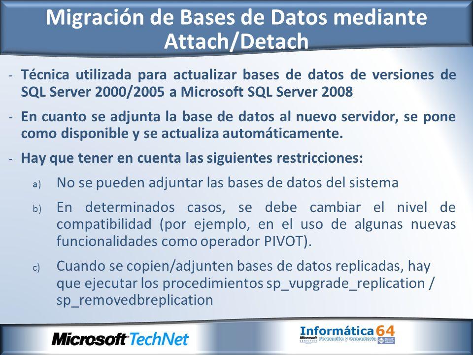 - Técnica utilizada para actualizar bases de datos de versiones de SQL Server 2000/2005 a Microsoft SQL Server 2008 - En cuanto se adjunta la base de datos al nuevo servidor, se pone como disponible y se actualiza automáticamente.