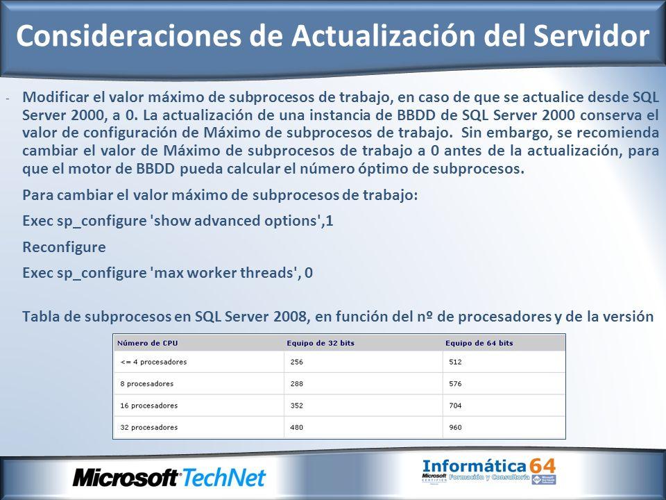 - Modificar el valor máximo de subprocesos de trabajo, en caso de que se actualice desde SQL Server 2000, a 0.