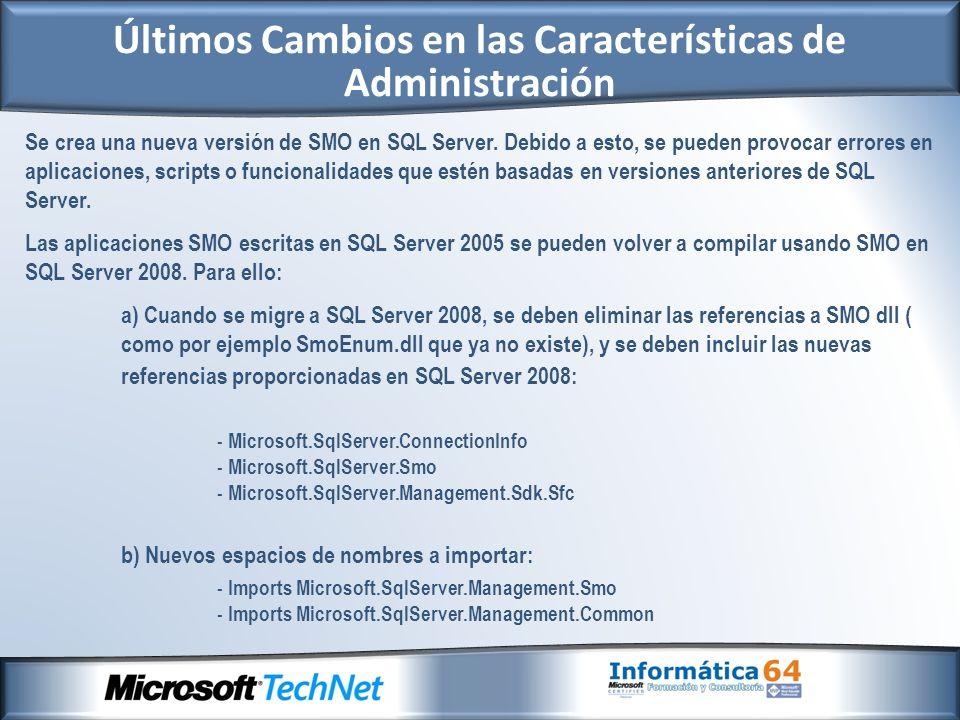 Se crea una nueva versión de SMO en SQL Server.