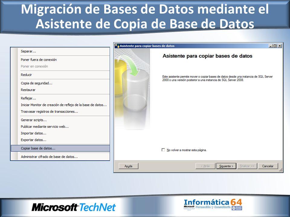 Migración de Bases de Datos mediante el Asistente de Copia de Base de Datos