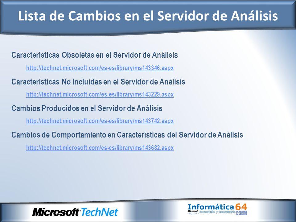 Características Obsoletas en el Servidor de Análisis http://technet.microsoft.com/es-es/library/ms143346.aspx Características No Incluidas en el Servidor de Análisis http://technet.microsoft.com/es-es/library/ms143229.aspx Cambios Producidos en el Servidor de Análisis http://technet.microsoft.com/es-es/library/ms143742.aspx Cambios de Comportamiento en Características del Servidor de Análisis http://technet.microsoft.com/es-es/library/ms143682.aspx Lista de Cambios en el Servidor de Análisis