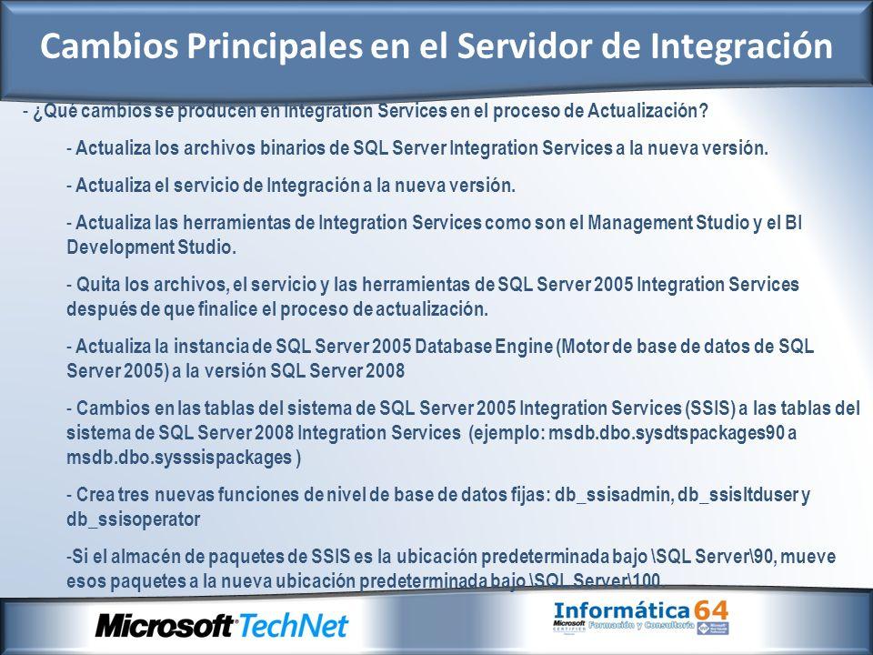 - ¿Qué cambios se producen en Integration Services en el proceso de Actualización.