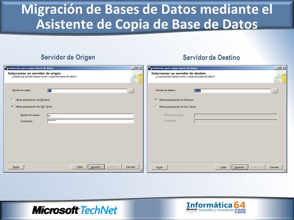 Migración a SQL Server 2008 desde Otros Entornos Si se desea migrar desde otros entornos, se disponen de asistentes de migración: http://www.microsoft.com/spain/sql/solutions/ssma.mspx Actualmente se disponen de los siguientes asistentes: - SQL Server Migration Assistant para Acces - SQL Server Migration Assistant para Oracle - SQL Server Migration Assistant para Sybase