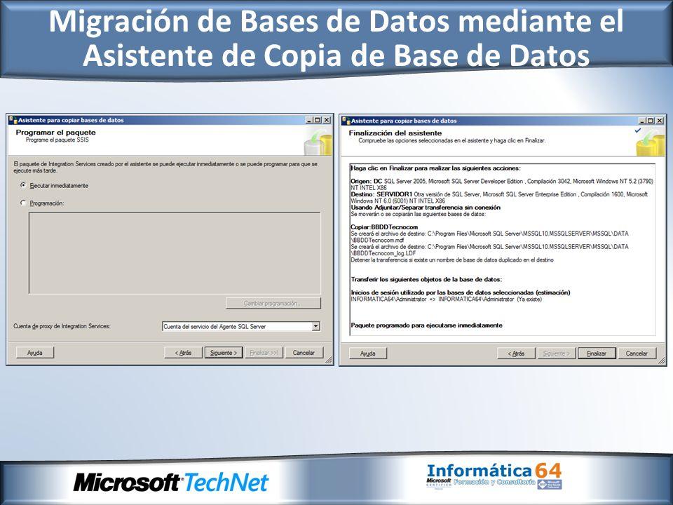No se deben utilizar en nuevas aplicaciones, puesto que esta previsto que desaparezcan en una release futura: - Instrucción DBCC DBREINDEX y DBCC INDEXDEFRAG (se sustituirán por Alter Index Rebuild//Reorganize).