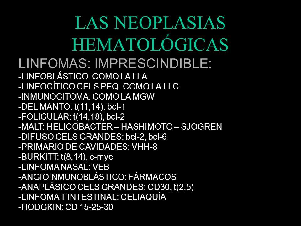 LAS NEOPLASIAS HEMATOLÓGICAS TRATAMIENTOS: -LLA: PDN + VCR + ASP -LNLA: ARA-C + DNB // ATRA -LLC: RITUXIMAB + FLUDARABINA + CICLOFOSFAMIDA -TRICOLEUCE