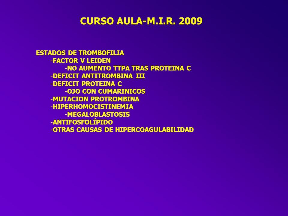 CURSO AULA-M.I.R. 2009 PACIENTE CON SANGRADO TIEMPO DE SANGRIA -PROLONGADO -TROMBOPENIA -CAUSAS CONOCIDAS (FALLO MEDULAR, FÁRMACOS, BAZO...) -IDIOPATI