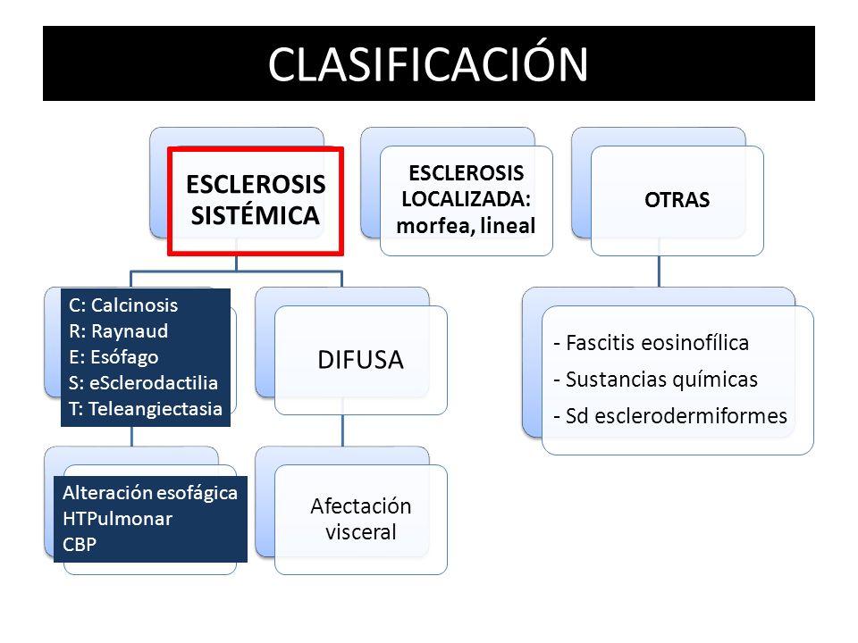 CLASIFICACIÓN ESCLEROSIS SISTÉMICA LIMITADA O SD CREST No suele haber patología visceral DIFUSA Afectación visceral ESCLEROSIS LOCALIZADA: morfea, lin