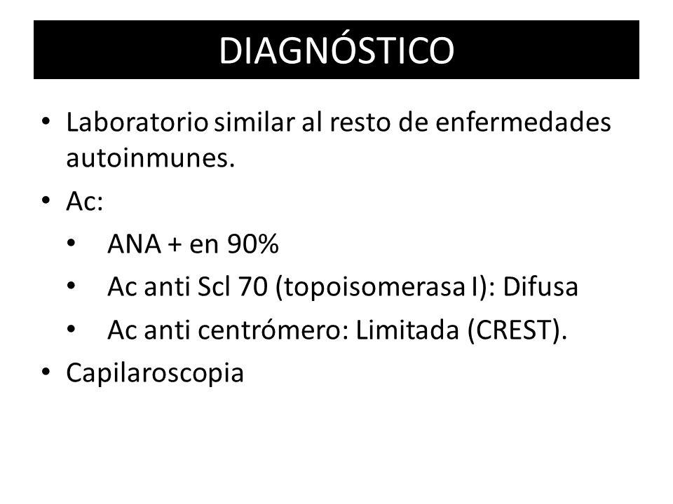 Laboratorio similar al resto de enfermedades autoinmunes. Ac: ANA + en 90% Ac anti Scl 70 (topoisomerasa I): Difusa Ac anti centrómero: Limitada (CRES