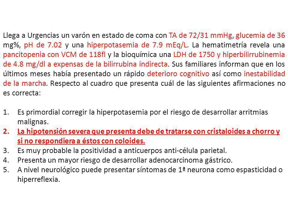 Llega a Urgencias un varón en estado de coma con TA de 72/31 mmHg, glucemia de 36 mg%, pH de 7.02 y una hiperpotasemia de 7.9 mEq/L. La hematimetría r