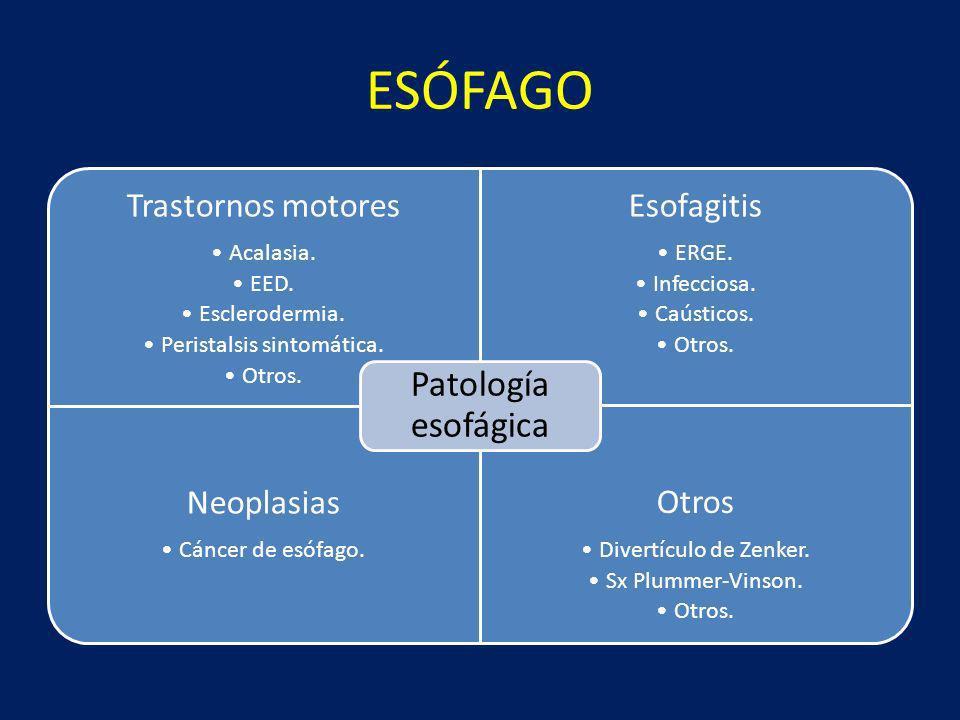 ESÓFAGO Trastornos motores Acalasia. EED. Esclerodermia. Peristalsis sintomática. Otros. Esofagitis ERGE. Infecciosa. Caústicos. Otros. Neoplasias Cán