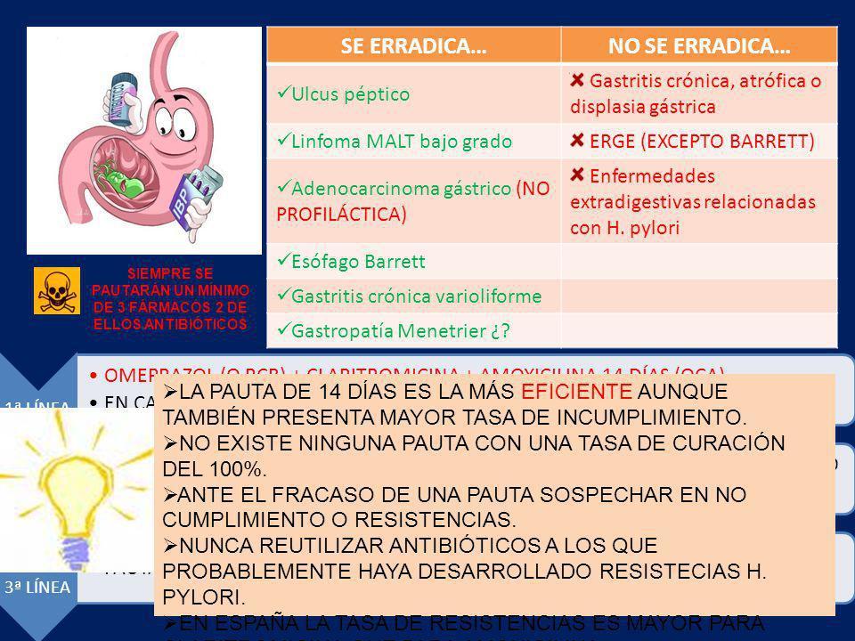 SE ERRADICA…NO SE ERRADICA… Ulcus péptico Gastritis crónica, atrófica o displasia gástrica Linfoma MALT bajo grado ERGE (EXCEPTO BARRETT) Adenocarcino