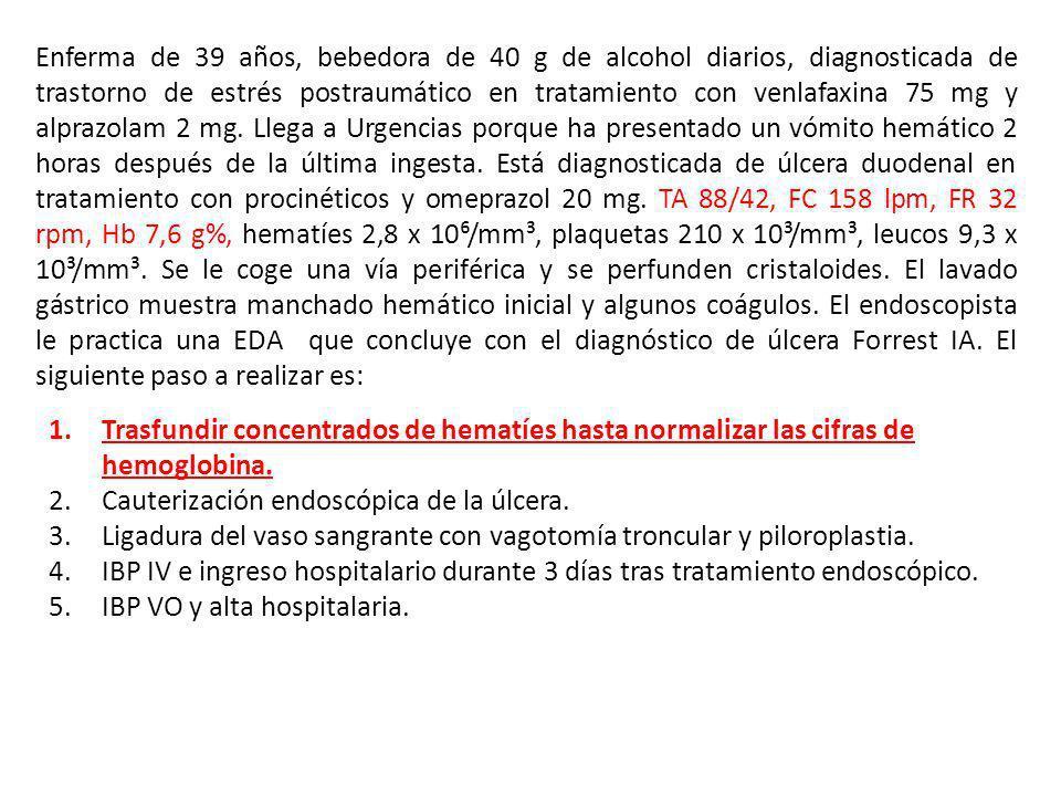 Enferma de 39 años, bebedora de 40 g de alcohol diarios, diagnosticada de trastorno de estrés postraumático en tratamiento con venlafaxina 75 mg y alp