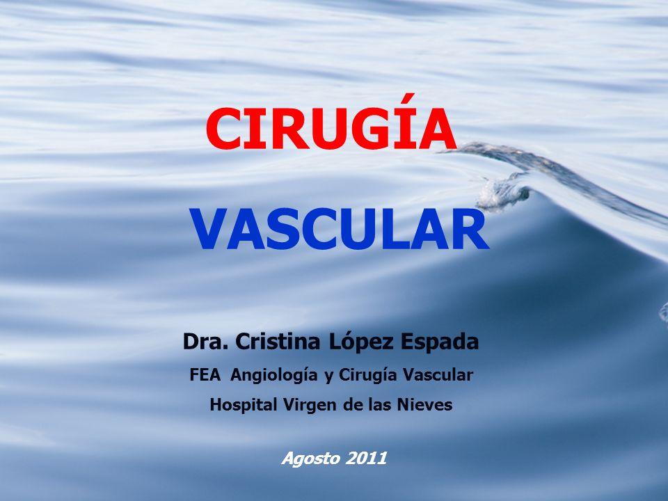 CIRUGÍA VASCULAR Dra. Cristina López Espada FEA Angiología y Cirugía Vascular Hospital Virgen de las Nieves Agosto 2011