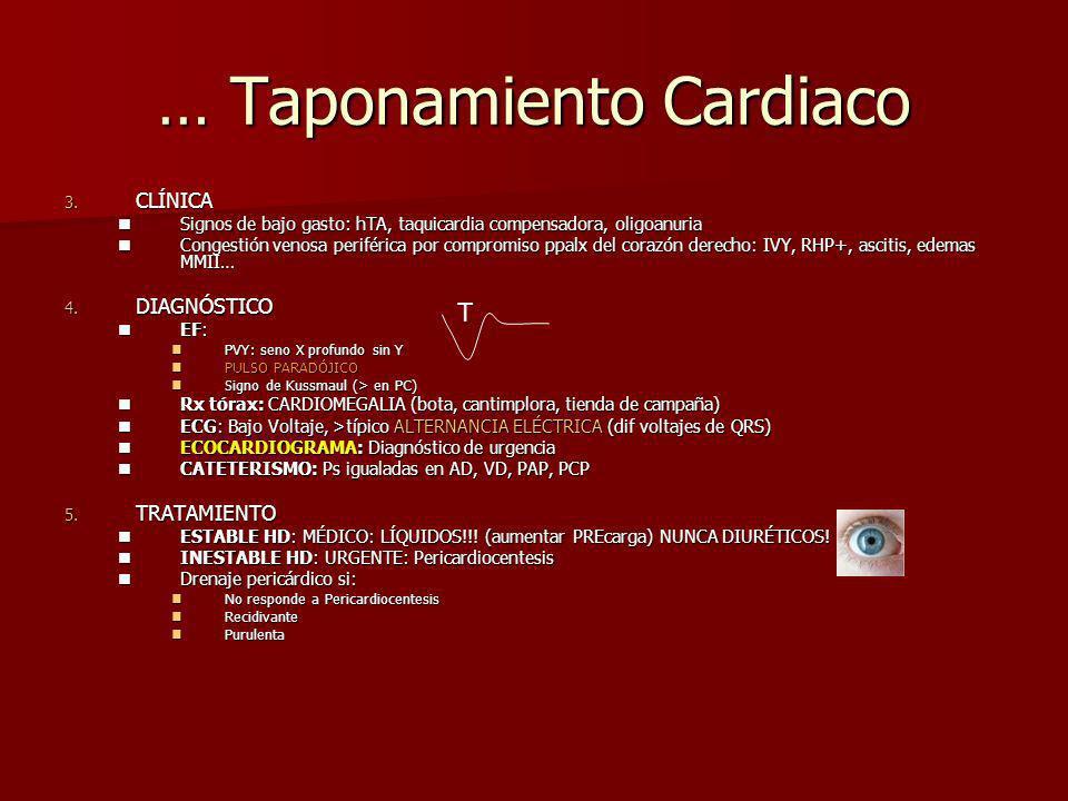 … Taponamiento Cardiaco 3. CLÍNICA Signos de bajo gasto: hTA, taquicardia compensadora, oligoanuria Signos de bajo gasto: hTA, taquicardia compensador