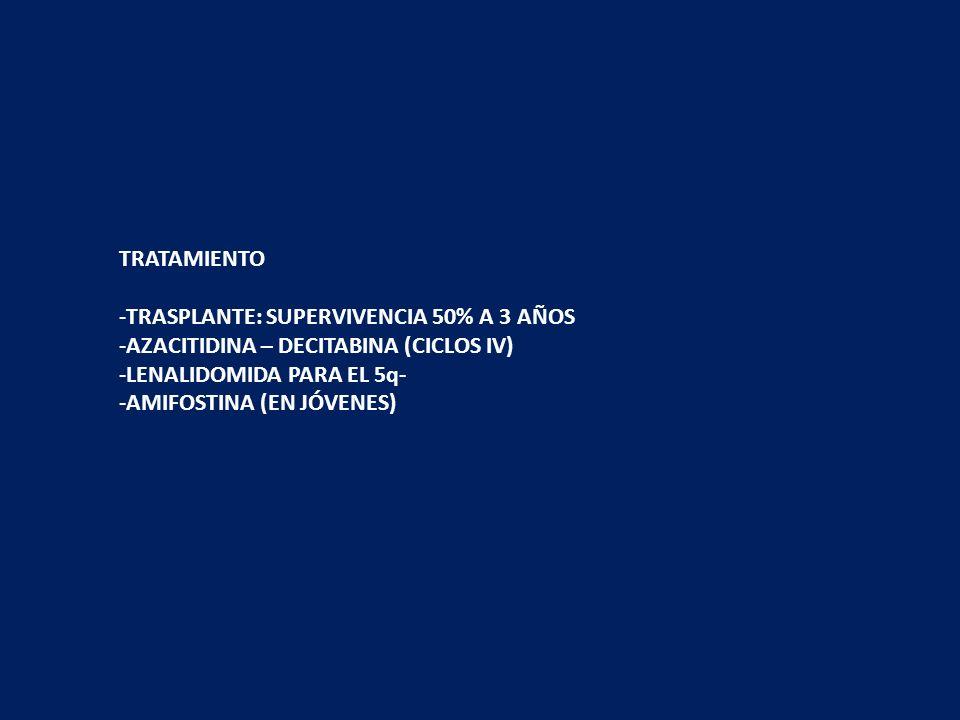 CASOS DE BUEN PRONÓSTICO: ERITROPOYETINA (si ésta es menor de 500 mU/mL). INMUNOSUPRESORES Menores de 60 años con MO hipocelular y/o HLA DR15. ATG + c