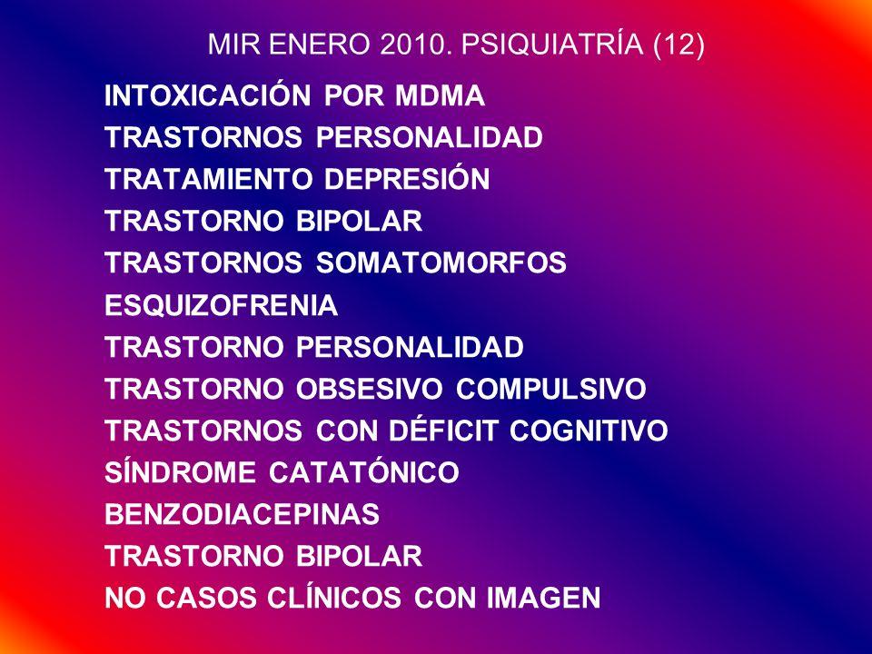 MIR ENERO 2010. PSIQUIATRÍA (12) INTOXICACIÓN POR MDMA TRASTORNOS PERSONALIDAD TRATAMIENTO DEPRESIÓN TRASTORNO BIPOLAR TRASTORNOS SOMATOMORFOS ESQUIZO