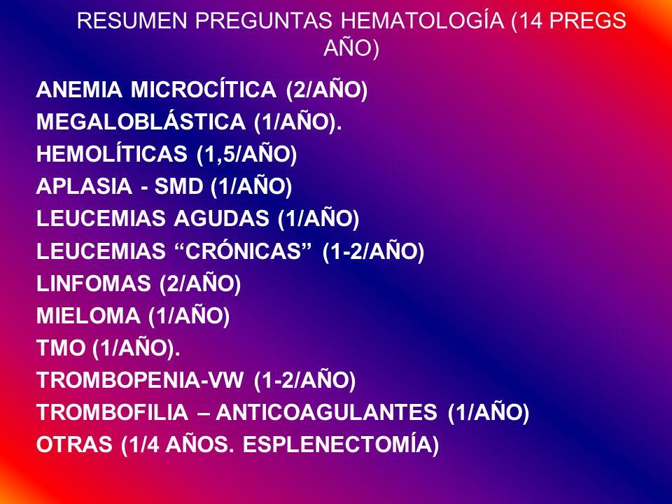 RESUMEN PREGUNTAS HEMATOLOGÍA (14 PREGS AÑO) ANEMIA MICROCÍTICA (2/AÑO) MEGALOBLÁSTICA (1/AÑO). HEMOLÍTICAS (1,5/AÑO) APLASIA - SMD (1/AÑO) LEUCEMIAS