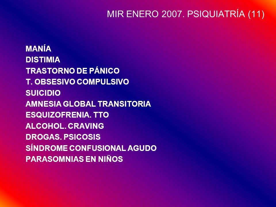 MIR ENERO 2007. PSIQUIATRÍA (11) MANÍA DISTIMIA TRASTORNO DE PÁNICO T. OBSESIVO COMPULSIVO SUICIDIO AMNESIA GLOBAL TRANSITORIA ESQUIZOFRENIA. TTO ALCO