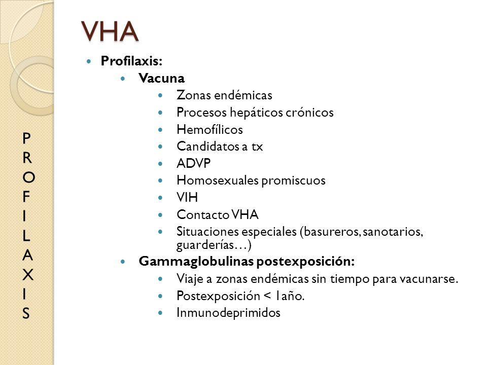 VHA Profilaxis: Vacuna Zonas endémicas Procesos hepáticos crónicos Hemofílicos Candidatos a tx ADVP Homosexuales promiscuos VIH Contacto VHA Situacion