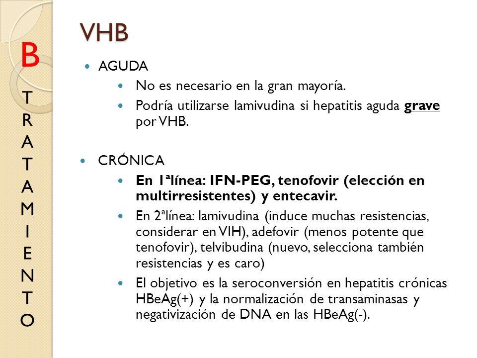 VHB AGUDA No es necesario en la gran mayoría. Podría utilizarse lamivudina si hepatitis aguda grave por VHB. CRÓNICA En 1ªlínea: IFN-PEG, tenofovir (e