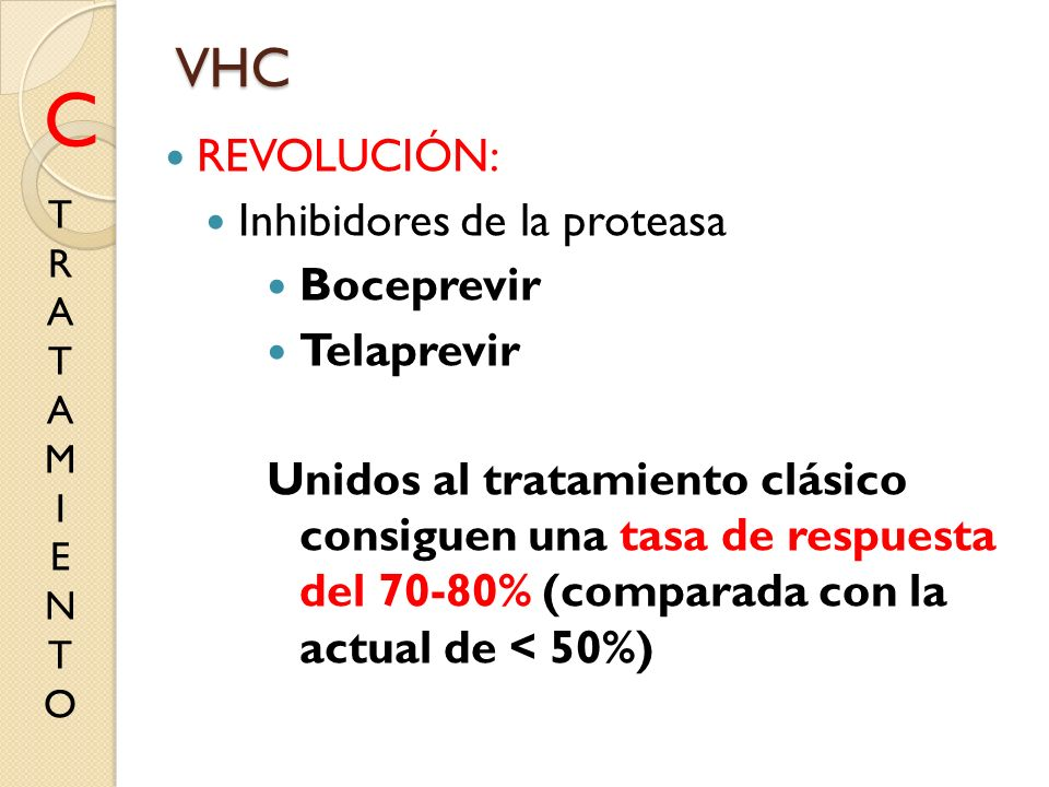 REVOLUCIÓN: Inhibidores de la proteasa Boceprevir Telaprevir Unidos al tratamiento clásico consiguen una tasa de respuesta del 70-80% (comparada con l
