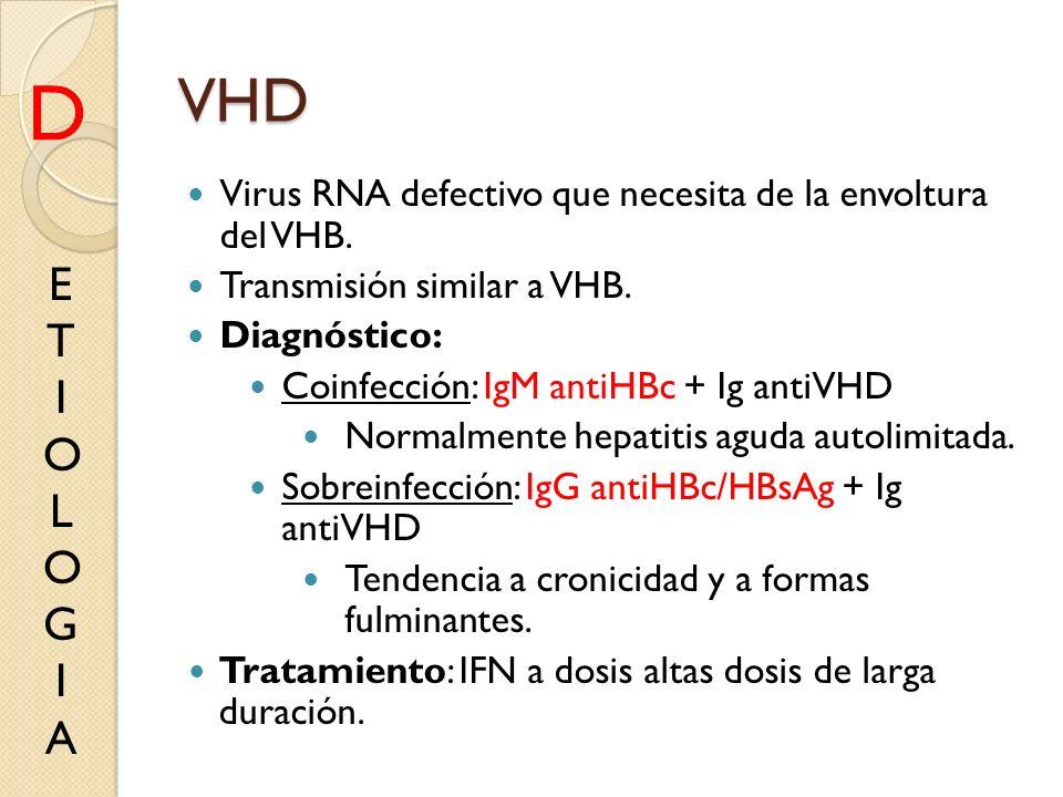 VHD Virus RNA defectivo que necesita de la envoltura del VHB. Transmisión similar a VHB. Diagnóstico: Coinfección: IgM antiHBc + Ig antiVHD Normalment