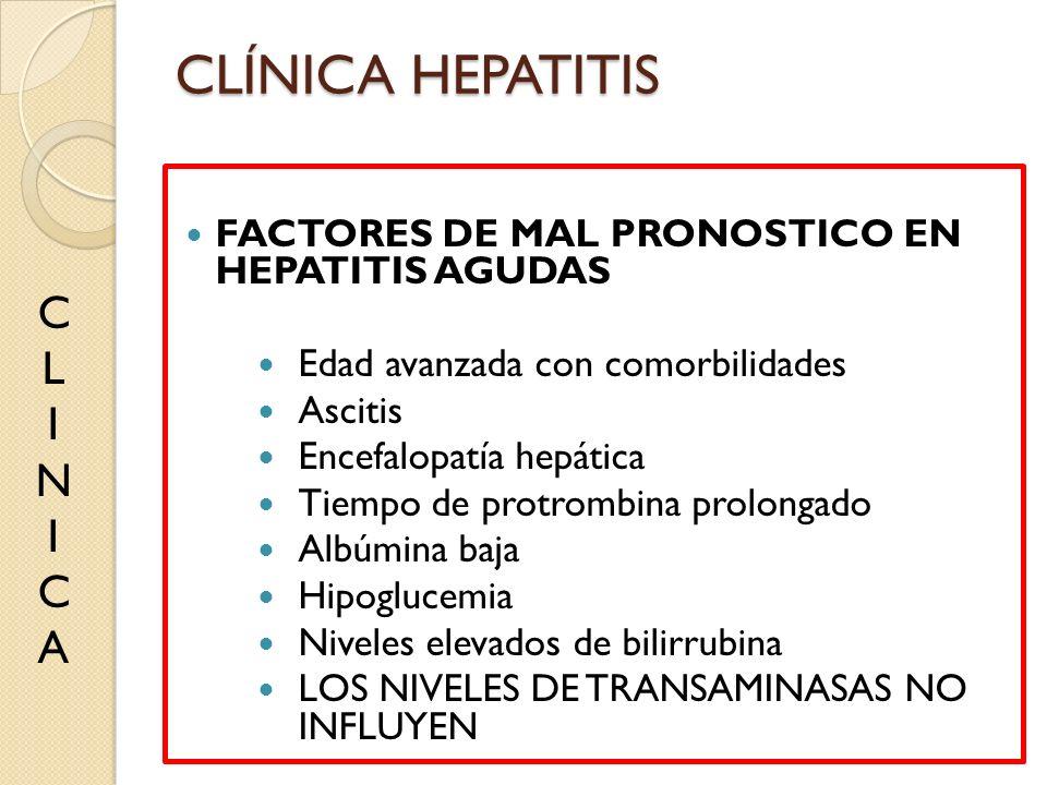 FACTORES DE MAL PRONOSTICO EN HEPATITIS AGUDAS Edad avanzada con comorbilidades Ascitis Encefalopatía hepática Tiempo de protrombina prolongado Albúmi