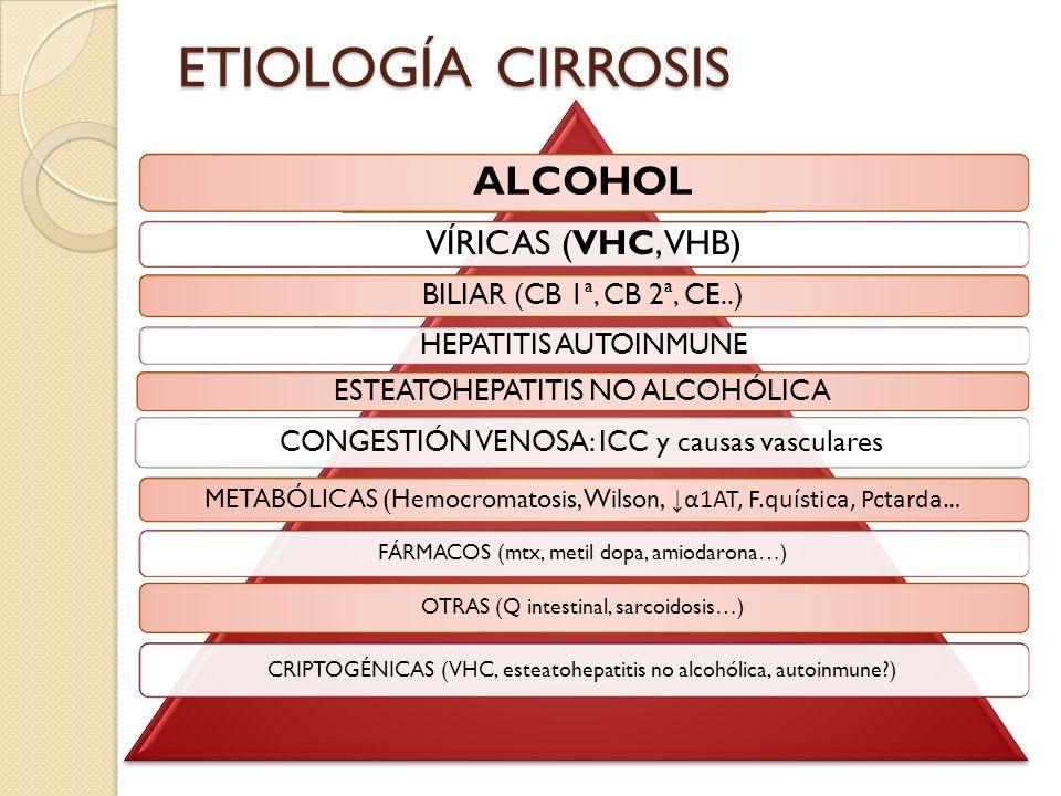 ETIOLOGÍACIRROSIS ALCOHOL VÍRICAS (VHC, VHB) BILIAR (CB 1ª, CB 2ª, CE..) HEPATITIS AUTOINMUNE CONGESTIÓN VENOSA: ICC y causas vasculares ESTEATOHEPATI