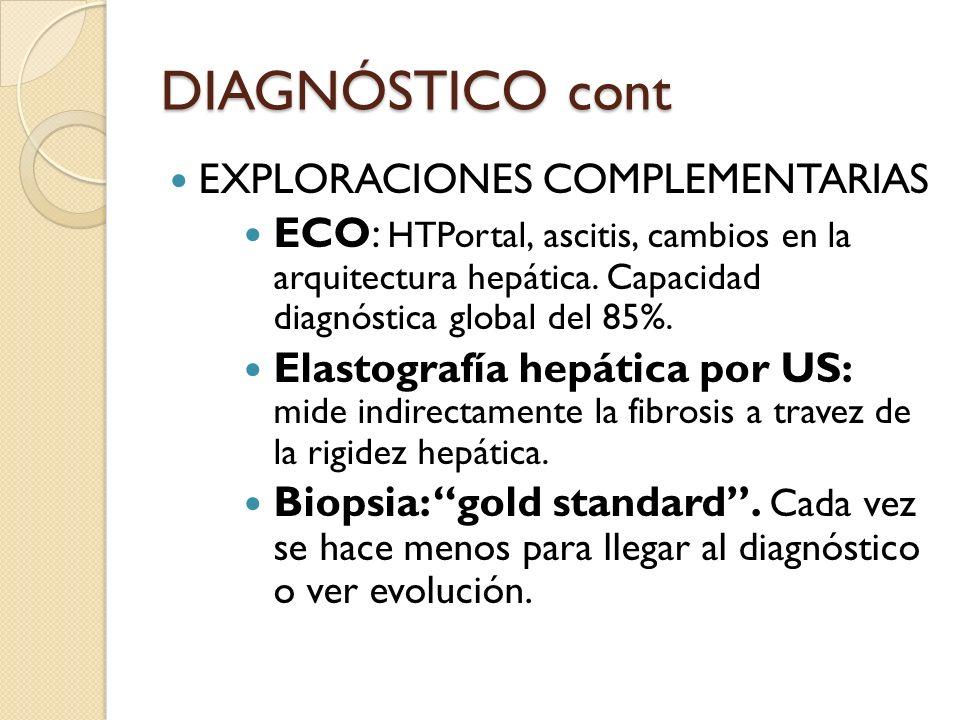 DIAGNÓSTICO cont EXPLORACIONES COMPLEMENTARIAS ECO: HTPortal, ascitis, cambios en la arquitectura hepática. Capacidad diagnóstica global del 85%. Elas