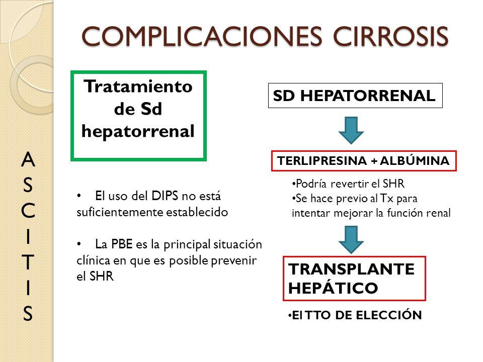 COMPLICACIONES CIRROSIS ASCITISASCITIS Tratamiento de Sd hepatorrenal SD HEPATORRENAL TERLIPRESINA + ALBÚMINA Podría revertir el SHR Se hace previo al
